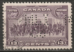 "Canada 1935 Sc 224  Used ""MLI/Co"" (Metropolitan Life Ins.) Perfin - Perforiert/Gezähnt"