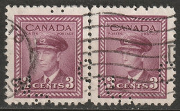 "Canada 1942 Sc 252  Pair Used ""CNR"" (CN Rail) Perfin - Perforiert/Gezähnt"