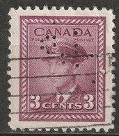 """Canada 1942 Sc 252  Used """"CPR"""" (CP Rail) Perfin Partially Unpunched - Perforiert/Gezähnt"""