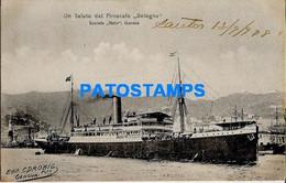 157780 SHIP BARCO PIROSCAFO BOLOGNA ITALY CIRCULATED TO ARGENTINA POSTAL POSTCARD - Unclassified