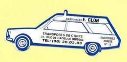 AUTOCOLLANT STICKER - AMBULANCES E. GLON - TRANSPORTS DE CORPS - 31 RUE DE CADELAC LOUDÉAC - VOITURE- AUTOMOBILE - Stickers