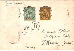 LETTRE RECOMMANDEE DE CHANDERNAGOR (INDE) Timbres 4 Et 12 ( Autres Valeurs Décollées) Pour FRANCE 1912 - Storia Postale