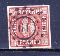 GERMANY-BAYERN, 1850 ,  Used Stamp 6 Kreuzer, Michel 4 , Scannr. 15182 - Bayern