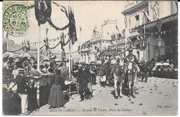 Cpa  MONTE - CARLO /  Bataille De Fleurs - Place Du Casino. (peu Courante). - Monte-Carlo