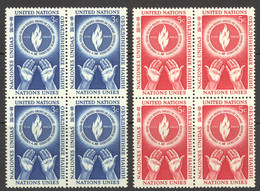 United Nations Sc# 21-22 MNH Blocks/4 1953 Human Rights Day - Nuovi