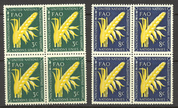United Nations Sc# 23-24 MNH Block/4 1954 FAO Issue - Nuovi