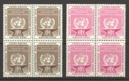 United Nations Sc# 25-26 MNH Blocks/4 1954 ILO Issue - Nuovi
