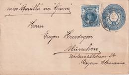 "URUGUAY    ENTIER POSTAL/GANZSACHE/POSTAL STATIONARY  LETTRE POUR MUNCHEN  VAPOR ""MANILLA"" VIA GENOVA - Uruguay"