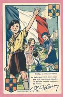 Scoutisme - Carte De Propagande 1940 - Coeurs Vaillants - Ames Vaillantes - VICHY - Timbres Maréchal PETAIN - 3 Scans - Scouting