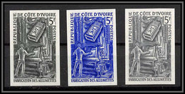 93260 Cote D'ivoire N°298 Fabrication Des Allumettes Matches Factory Lot De 3 Essai Proof Non Dentelé Imperf ** MNH - Ivory Coast (1960-...)