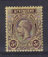 St Vincent: 1913/17   KGV    SG112a     3d   Purple/yellow [on Lemon]   MH - St.Vincent (...-1979)