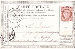 Janvier 1877 Seranon Alpes Maritimes Ceres 10c N°54 Sur Carte Precurseur Manque 1 Timbre - Vorläufer