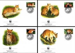 Senegal -1997- W.W.F-  African Golden Cats -Set Of 4  FDCs. - FDC