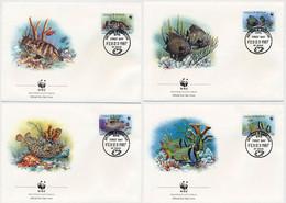 Antigua & Berbuda -1987- W.W.F -  Marine Fishes -Set Of 4  FDCs. - FDC