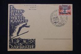 POLOGNE / ALLEMAGNE - Oblitération Temporaire De Zacopane En 1940 Sur Carte Postale De Sports D'Hiver  - L 95375 - Generalregierung