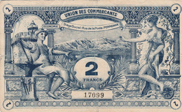 WW1 Grand BILLET DE NECESSITE De 2 Francs De L'UNION DES COMMERCANTS De PERPIGNAN - Historische Documenten