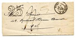 LETTRE TAXÉE 25 PUIS 4 DÉCIMES PARIS POUR PARIS PUIS RÉEXPÉDITION 1 NOVEMBRE 1876 TB - 1849-1876: Classic Period