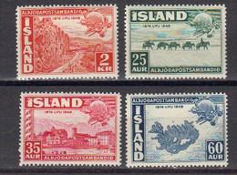 Islande 1949 75eme Anniversaire De L'UPU Yvert 220 / 223 * Neufs Avec Charniere. - Ungebraucht