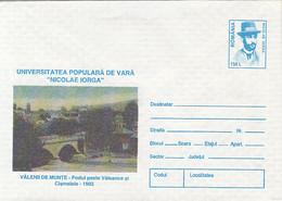 VALENII DE MUNTE, BRIDGE, NICOLAE IORGA, COVER STATIONERY, ENTIER POSTAL, 1996, ROMANIA - Enteros Postales