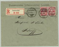Schweiz 1895, Kreuz Und Wertziffer, Brief Bierbrauerei Löwengarten Luzern-Hof - Schwyz, Bier / Bière / Beer - Cartas