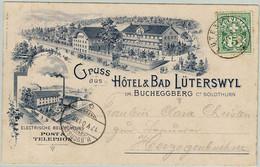 Schweiz 1901, Kreuz Und Wertziffer, Karte Hotel Bad Lüterswyl Solothurn - Herzogenbuchsee, Elektrizität/ Electricity - Briefe U. Dokumente