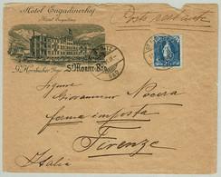 Schweiz 1901, Stehende Helvetia, Auslandbrief Hotel Engadinerhof St.Moritz Bad - Firenze (Italien) - Briefe U. Dokumente