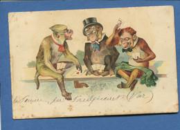 Anthropomorphisme Singes Humanisés Illustrateur Partie De Cartes Carte Jeu Jouer - 1900-1949