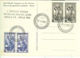 1° CONGRESSO MONDIALE PREVENZIONE INFORTUNI LAVORO - ROMA EUR 1955 - ANNULLO SPECIALE SU CARTOLINA DEDICATA - First Aid