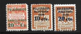 Espagne/Barcelone YT N° 10, N° 18 Et N° 19 Neufs ** MNH. TB. A Saisir! - Barcelona