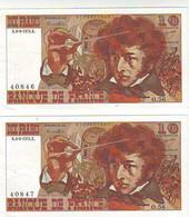 Série De 2 Billets 10 Francs  BERLIOZ - Du 6 JUIN 1974 - LES NUMEROS SE SUIVENT  - état SPL - 10 F 1972-1978 ''Berlioz''