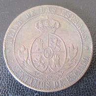 Espagne / Espana - Monnaie 5 Centimos De Escudo 1867 OM Isabella II - Etoiles à 8 Branches - Primeras Acuñaciones