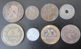France - 8 Monnaies Entre 1855 Et 1997 Dont 10 Centimes Napoléon III 1855 Marseille - Qqles Millésimes Peu Communs - Colecciones