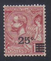 Monaco Timbre De 1891-1920 Surchargé  25c.s. 10 C. Rose N° 52** Neuf - Ongebruikt