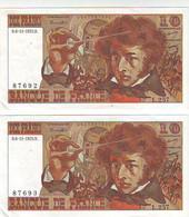 LOT DE 2 BILLETS 10 FRS BERLIOZ  Du -6.11.1975 Les N° Se Suivent  -L.257 - N° 87692 Et 87693 - SPL+ - 10 F 1972-1978 ''Berlioz''