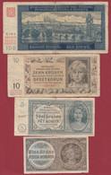 Tchécoslovaquie 4 Billets  Dans L 'état (Protectorat Boème Et Moravie 1939) - Czechoslovakia