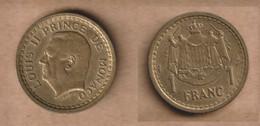 MONACO   1 Franc -(1945) Aluminium-bronze • 4 G • ⌀ 23 Mm KM# 120a - 1922-1949 Louis II