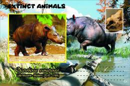 Vignettes De Fantaisie, Extinct Animals : Rhinocerotidae, Dicerorhinus Sumatrensis - Fantasy Labels