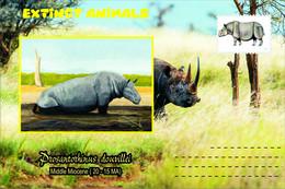 Vignettes De Fantaisie, Extinct Animals : Rhinocerotidae, Prosantorhinus Douvillei - Fantasy Labels