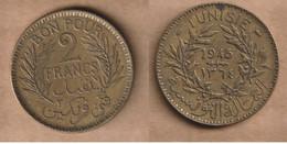 TUNEZ 2 Francs 1945 Aluminium-bronze • 8 G • ⌀ 27 Mm KM# 248, Schön# 162 - Tunisia