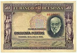 ESPAÑA - 50 Pesetas - 22.07.1935 - Pick 88 - Santiago Ramon Y Cajal - II Republica - 50 Pesetas