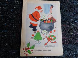 Willy Schermelé,  Père Noël Avec Sa Hotte à Jouets, Poupée, Ourson, Enfant Qui Regarde   (F7) - Schermele, Willy
