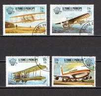 SAINT THOMAS ET PRINCE   N° 744 à 747    OBLITERES   COTE 4.00€   AVION - Sao Tome And Principe