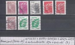 France Marianne De Beaujard (2010-11) Y/T N°4475 + 4477 + 4565/66 + 4569 + 4593 + Autoadhésifs 590 + 604 Oblit (lot 2) - 2008-13 Marianne Of Beaujard