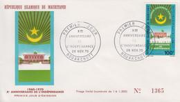 Enveloppe FDC  1er  Jour   MAURITANIE   Xéme   Anniversaire  De    L' Indépendance   1970 - Mauritania (1960-...)