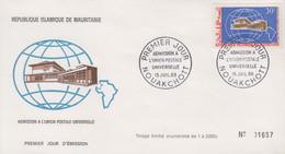 Enveloppe FDC  1er  Jour   MAURITANIE   Admission  à   L'  Union  Postale  Universelle   1968 - Mauritania (1960-...)