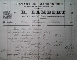 G 26 Facture/document Entete Maçonnerie La Poitevinière - Sin Clasificación