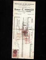 NANTES - Lettre De Change 1938 - Manufacture De Sacs D'Ecoliers - Etablissements C. MINGOT - Rue De Coutances - Bills Of Exchange