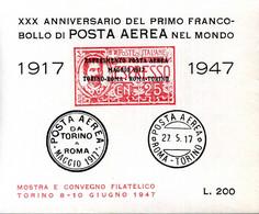 ERINNOFILIA / XXX Anniversario Di Posta Aerea 1° Francobollo 1917 - 1947 200 Lire - Erinnofilie