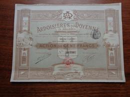 FRANCE - ARDOISIERES DU DOYENNE A ANGERS - ACTION DE 100 FRS - LA FLECHE, SARTHE - Unclassified