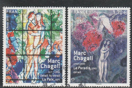FRANCE 2017 ISSU DU BLOC MARC CHAGALL YT 5116 + 5117 OBLITERE - Usati